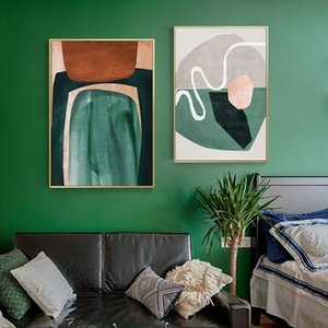 Abstract Geometric Canvas Painting Posters Prints Minimalist Green Wall Art Pictures For Living Room Bedroom Aisle Studio