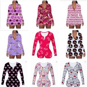 2021 Frauen Jumpsuits Designer Onesies Valentines Geschenk Nachtwäsche Bodysuit Trainingsknopf Leopard Gedruckt V-Neck Damen Kurzer Strampler 15 Farbe