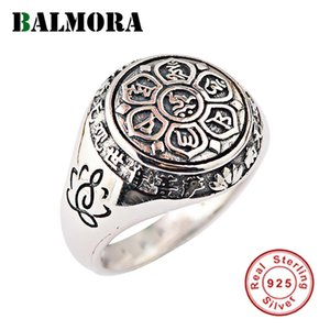 Kadınlar Erkekler Çift Altı Kelimeler Mantra Moda Takı için Balmora Gerçek 925 Gümüş Budizm Retro Spinner İstifleme Halkalar