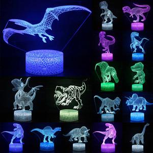 3D LED Gece Işığı Lambası Dinozor Serisi 16Color 3D Gece ışık Uzaktan Kumanda Masa Lambaları Oyuncak Hediye çocuk Ev Dekorasyon D23 için