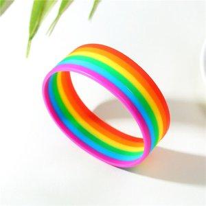 Джул Ван Силиконовой Радуга браслет Лесбиянки Геи бисексуалов транссексуалов браслеты Pride Мода браслет Пара браслет ювелирных изделия