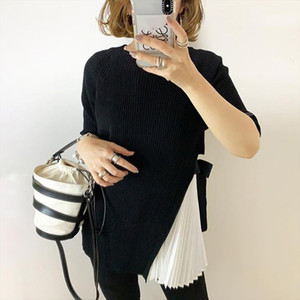 2020 Knitted T shirt For Women Color Block Asymmetric Casual Female Sweater Fall Japanese Style Double Layer Pullover Chic Tops