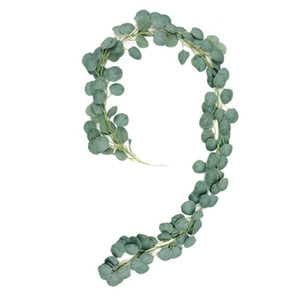 2m Artificial Fake Eucalyptus Leaves Hanging Vine Plant Leaves Garland Home Garden Wall Decoration Green 2m