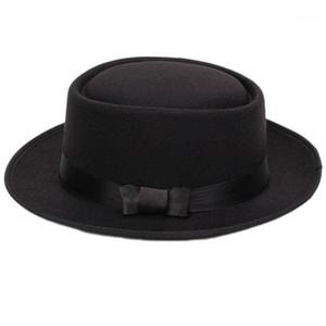 Женщины Men Cool Classic Jazz Hats Fedora Trilby Hat Blower Hats с Bowknot (черный) 1
