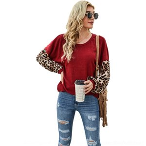 Iola ljja3147 leopardo retalhos t-shirt bolso outono mangas compridas tee casual o-pescoço de pescoço roupas o tops camisas pulôver mulheres