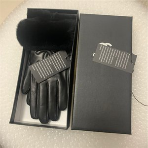 Moda Guantes de invierno Femenino Pantalla táctil Conejo Pelo Cálido Guantes de piel