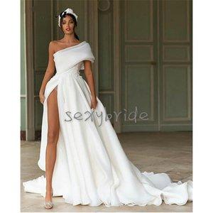 Sexy High Slit Wedding Dresses One Shoulder Big Bow Back Long Train Organza Boho Beach Wedding Gowns New 2021 Simple Bridal Dress Vestidos