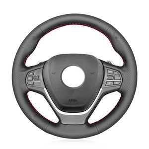 DIY Hand-stitched New Original Faux Leather Car Steering Wheel Cover For BMW X3 F25 2010-2017 X4 F26 2014-2018 BLACK 15inch 38cm