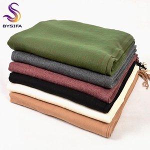 Shawls [BYSIFA] Winter Plain Cashmere Scarves 2021 Autumn Thicken Warm Tassel Long Wraps Green Black Camel Grey Red1