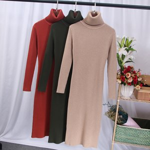 Bygouby turtleneck femmes pull robe automne hiver épaisses robes longueur longueur longueur longue robe chaude 201125