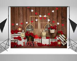 Kate Microfiber Happy San Valentino Backdrops per fotografia rossa rosa sfondo retrò Porta in legno Sfondi Neonato Baby Shower Backdrop