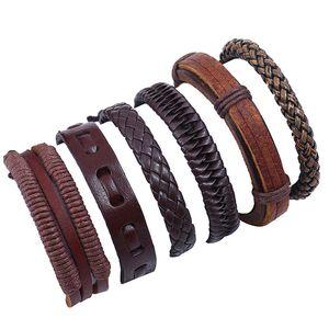 Adjustable Weave braid leather bracelet set multi layer wrap bracelets wristband bangle cuff women men fashion jewelry will and sandy gift