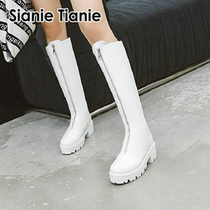 Boots Sianie Tianie 2021 Winter Warm White Black Woman Platform Square High Heels Zipper Front Riding Cowgirl Knee