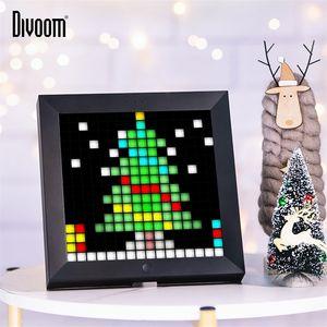 Divoom Pixoo Digital Photo Frame Alarm Clock with Pixel Art Programmable LED Display,Neon Light Sign for Christmas Gift & Decor 201212