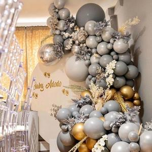 85pcs Large Size Grey balloon arch kit globos metalic latex balloon garland for happy birthday party Wedding decorations F1230