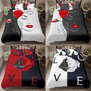 Homesky Rose Flower Bedding Sets 2 3 Pcs King Queen Sizes Beautiful Woman Duvet Cover Set Print Comforter Sets Bed Linen Sets C1020