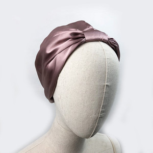Women Sleep Hat Soft Pure Silk Charmeus Night Sleep Cap Hair Bonnet Silk Comfortable Head Cover Wide Elastic Band Hair Loss Cap 201009
