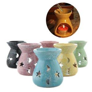 Lâmpadas de óleo essencial de cerâmica Lâmpadas fragrâncias Hollow Stars padrão de lua Simples Óleo Essencial Fragrance Vela Incenso Queimadores GWB4039