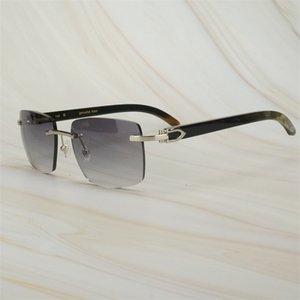 Luxo Óculos Impressão Dhdna Dhdna Homens Homens Sunglasses Chifre Retro Cru Raw Oversized Carter para Designer Búfalo Square Mens Marca Shades SU FEBX