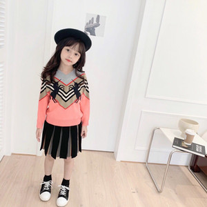2020 Autumn Spring toddler Children'S Clothing O-Neck Knitted Pullover Cotton Ruffles Patchwork Kids Baby Girls Sweater