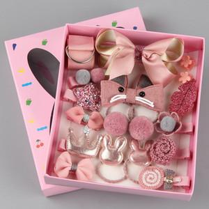 Chica niños princesa estilo color coincidir con el pelo de pelo anillo de pelo caja de regalo 18 sets Little niña anillo princesa accesorios