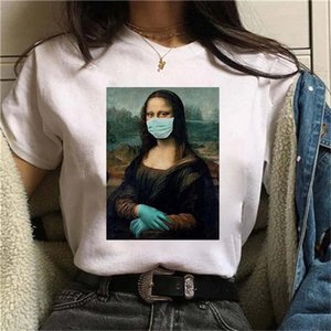2021 Mona Lisa Mask Print T shirt Women Summer Short Sleeve Tee O Neck Kawaii Tshirt Female Streetwear Harajuku Fashion Clothes