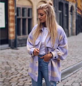 Fashion Jacket Plaid Collar Woolen Sweet Women Streetwear Pockets Turn-down Stylish Coat Jackets Cute Girls Chic Check Shirt Plvxp