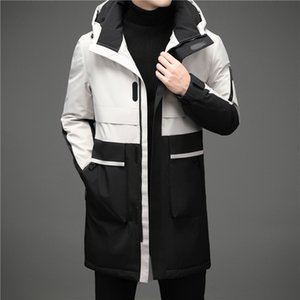 High Quality Grey Duck Donsjack Men Fat Winter Warm Hooded Parka Fashion Patchwork Mens Down Casual Long Men's Jacket