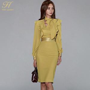H HAN Queen Footern Рукава Рукава Рубли ленты Щеняки платье Женщины Осень Корейский Элегантный Сексуальные Платья для карандашей Bodycon Leath Vestidos
