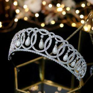 Asnora Luxury Court Court Crown Accesorios de boda elegante perla Zircon Accesorios para el cabello A00342