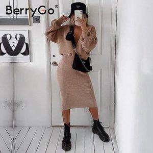 BerryGo Sexy mulheres v-pescoço de malha vestido elegante outono inverno dois vestido peça definir Party Club chiques vestidos de camisola feminina