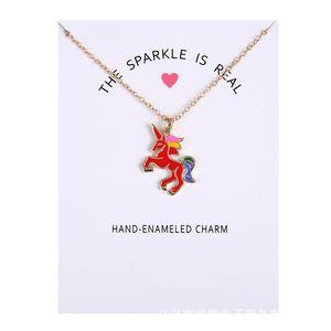 2019 Fashion Unicorn Necklace for Girls Children Kids Enamel Cartoon Horse Jewelry Women Animal Pendant Necklace with Retail Car 36 O2