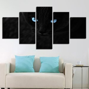 Modular HD Prints Poster Canvas Pictures 5 Pieces Black Cat Two Blue Eyes Luminous Painting Decor Living Room Wall Art Framework
