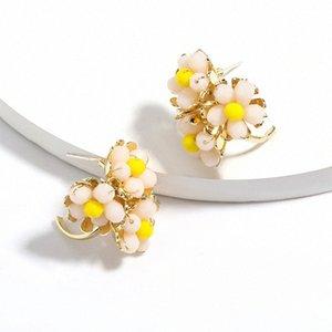New Design Acrylic Flower Earrings For Women Trendy Boho Cute Stud Earring Korean Fashion Gold Color Ear Jewelry 7nJa#