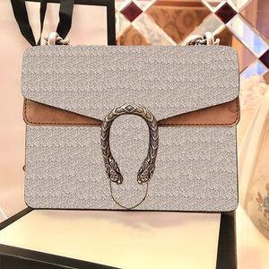 الأفعى خمر جلد بني المرأة الكتف حقائب crossbody 2020 جديد مصمم الأزياء سلسلة حقيبة الكتف حقيبة المرأة حقيبة يد