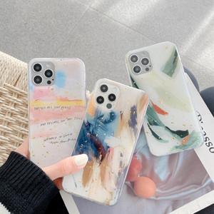 Ретро абстрактного искусства граффити Золотой лист Корпус телефона для iPhone 12 11 Pro Max Xr Xs Max 7 8 Plus 12 мини 7Plus случай Симпатичные мягкие обложки