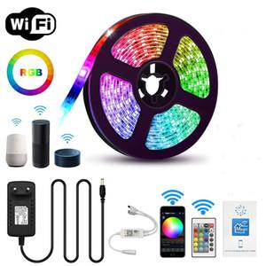 WiFi LED Strip Light RGB Waterproof IP65 SMD 5050 2835 DC 12V rgb Google Home Alexa Ribbon WiFi Contoller Adapter plug 5M LEDStrip Lights