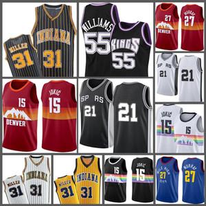 15 Jason Reggie Tim Chris 55 Williams Miller 21 Nikola Webber Jokic Basketball Jersey Mesh Retro 2021 Novo