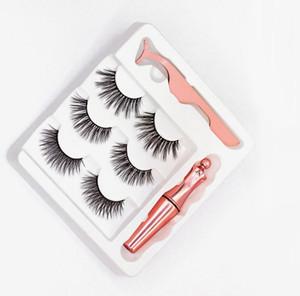3Pairs Magnetic Eyelashes False Lashes +Liquid Eyeliner +Tweezer eye makeup set 3D magnet False eyelashes. IN STOCK