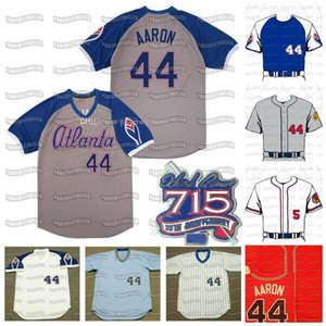 44 Hank Aaron 1963 Milwaukee 35 Hank Aaron 1963 715 Ev Run 25th 1979 Saati Geri Dönüm Vintage Beyzbol Forması