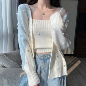 2021 New New hot style outer wear white knitted cardigan women's gentle wind sweater coat A80Q