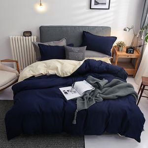 Nordic Double Color Bedging Set Onle Queen King Duver Cover набор 240x220 Кровать простыня для белья наволочка серые розовые одеяла 201210