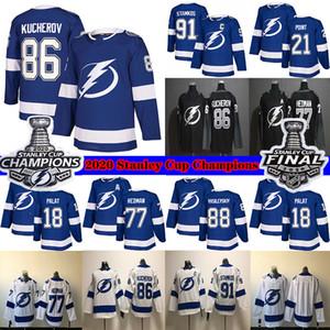 Tampa Bay Lightning 2020 Stanley Cup Champions 86 Nikita Kucherov 77 Victor Hedman 91 Stamkos 21 Brayden Punto 18 Palat de los jerseys del hockey