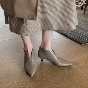 PXELENA France Brand New Kitten Heels Short Boots Real Genuine Leather Pointed Toe Slip On Dress Office Lady Shoes Autumn Winter