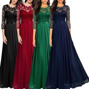 BORRUICE partido de las mujeres del verano de la vendimia del cordón atractivo largo vestido hueco elegante bordado de salida gasa maxi vestidos de dama elegante DressA1110