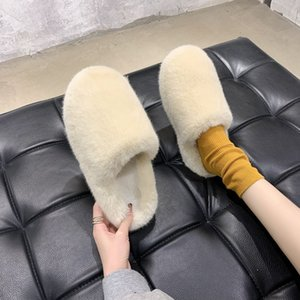 JvHb 2021 calfskin women039;s fur slippers boots real wool real fashionable slide sandals winter warm with