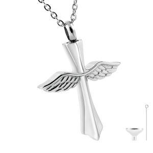 Kreuzflügel reiben Urn Anhänger Halskette aus Edelstahl, Urne Halskette für menschliche Asche und Tierverlust, Gedächtnis-Sympathie-Geschenk