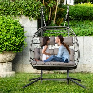 US warehouse Indoor Outdoor Wicker Rattan Swing Chair Hammock chairS Luxury 2 Person X-Large Double Swing Chair Wicker Hanging Egg Chair