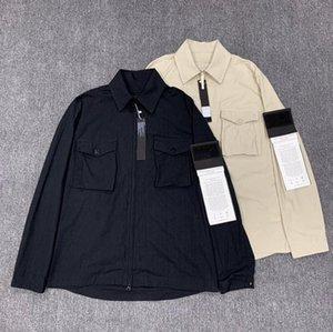cappotto isola pietra stand colletto della giacca da uomo Mens Windbreaker maniche lunghe uomo Giacche Pocket Zipper Uomini Cappotto casuale crisantemo Giacche