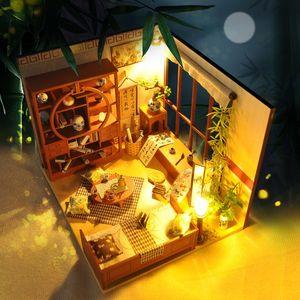 Casa de boneca mobiliário DIY Dollhouse Miniature Puzzle Montagem 3D Miniaturas Dollhouse Brinquedos Educativos para Crianças Presente Y200413